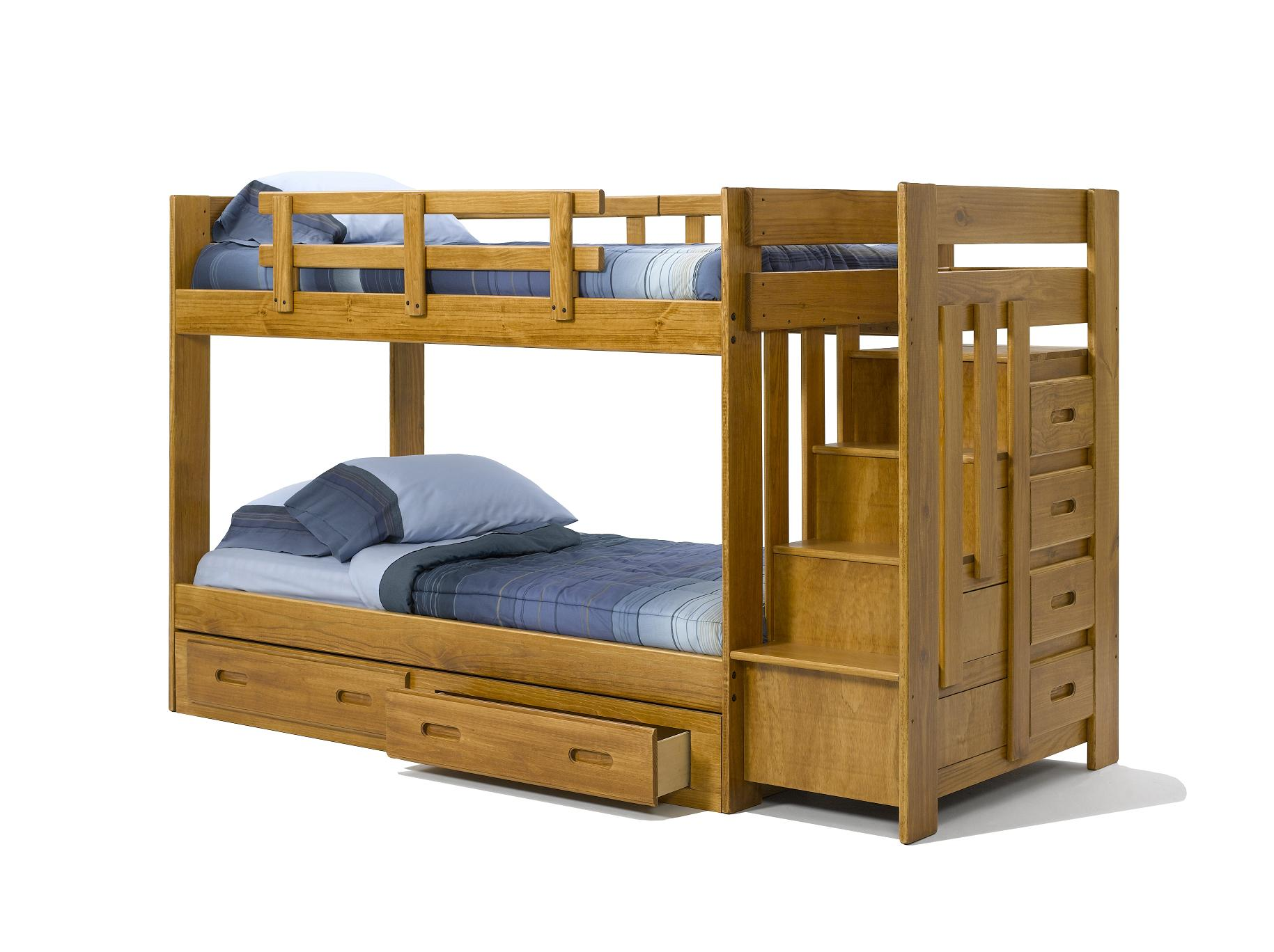 Solid wood bunk bed with staircase and drawers - Solid wood trundle bed with drawers ...