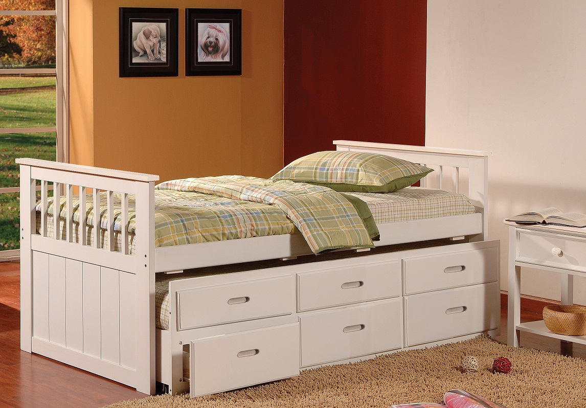 Solid wood captains trundle bed with storage white - Solid wood trundle bed with drawers ...