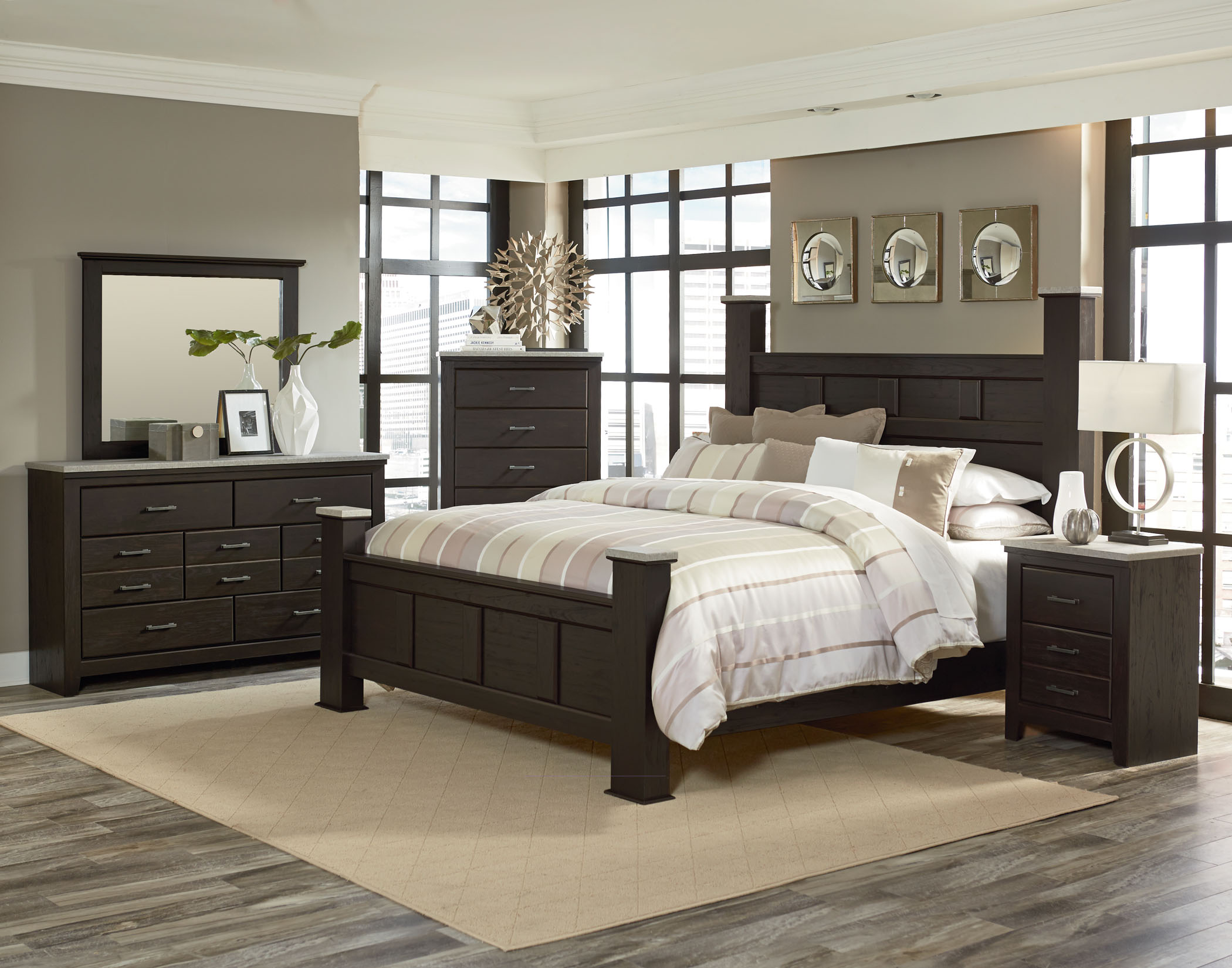 stonehill dark poster bedroom suite