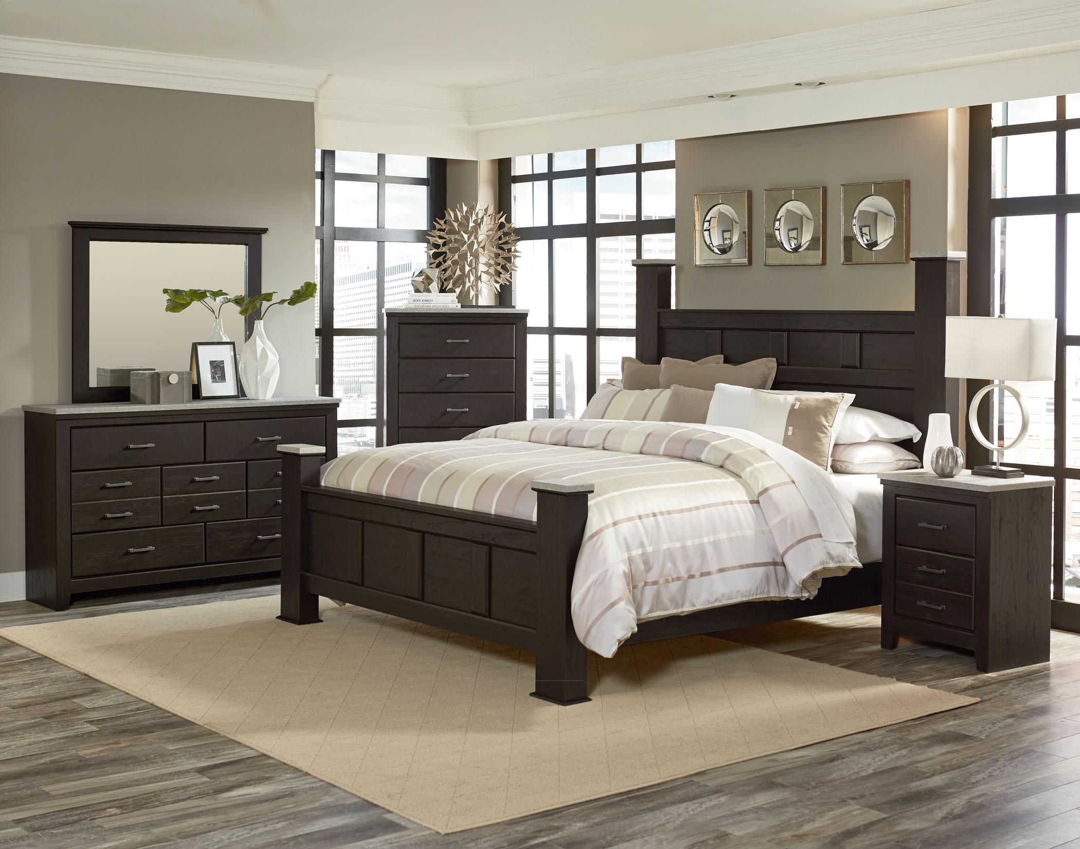 Stonehill Dark Poster Bedroom Suite