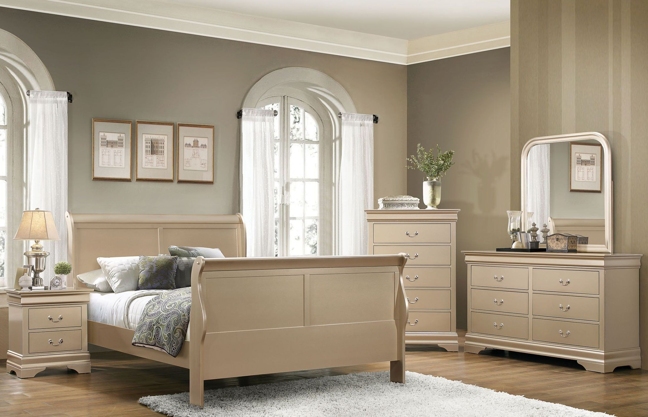 7PC Complete Champagne Bedroom Suite Package Deal (AVAILABLE IN ALL SIZES)