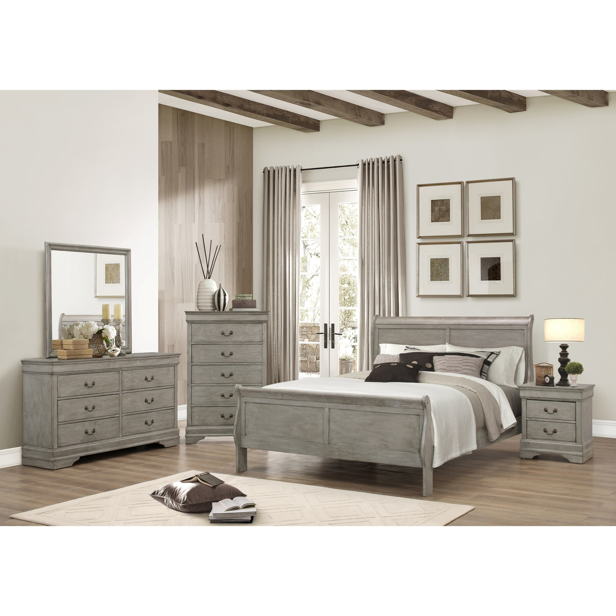 7PC Complete Gray Bedroom Suite Package Deal