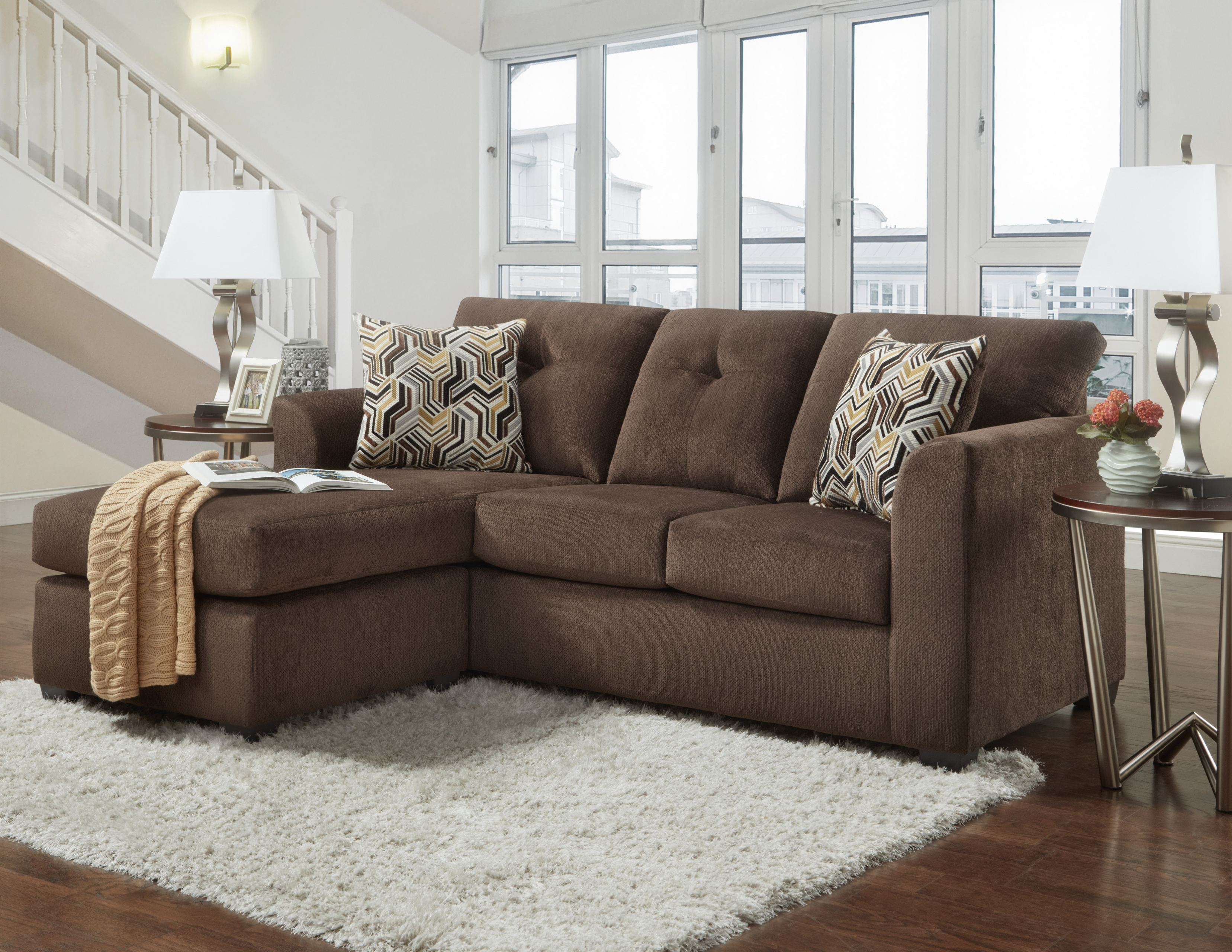 Kelly Chocolate Sofa With Chaise (FREE RECLINER INCLUDED!) LIMITED TIME  OFFER